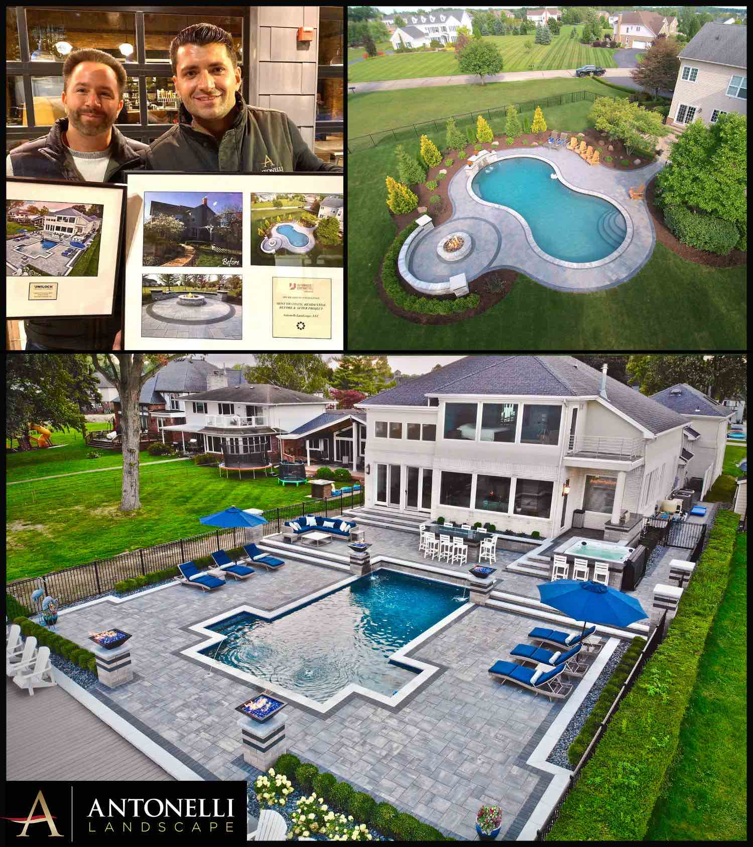 Unilock 2019 Most Dramatic Before & After Project -Milford (top) _ 2019 Project of Note- Chesterfield Twp