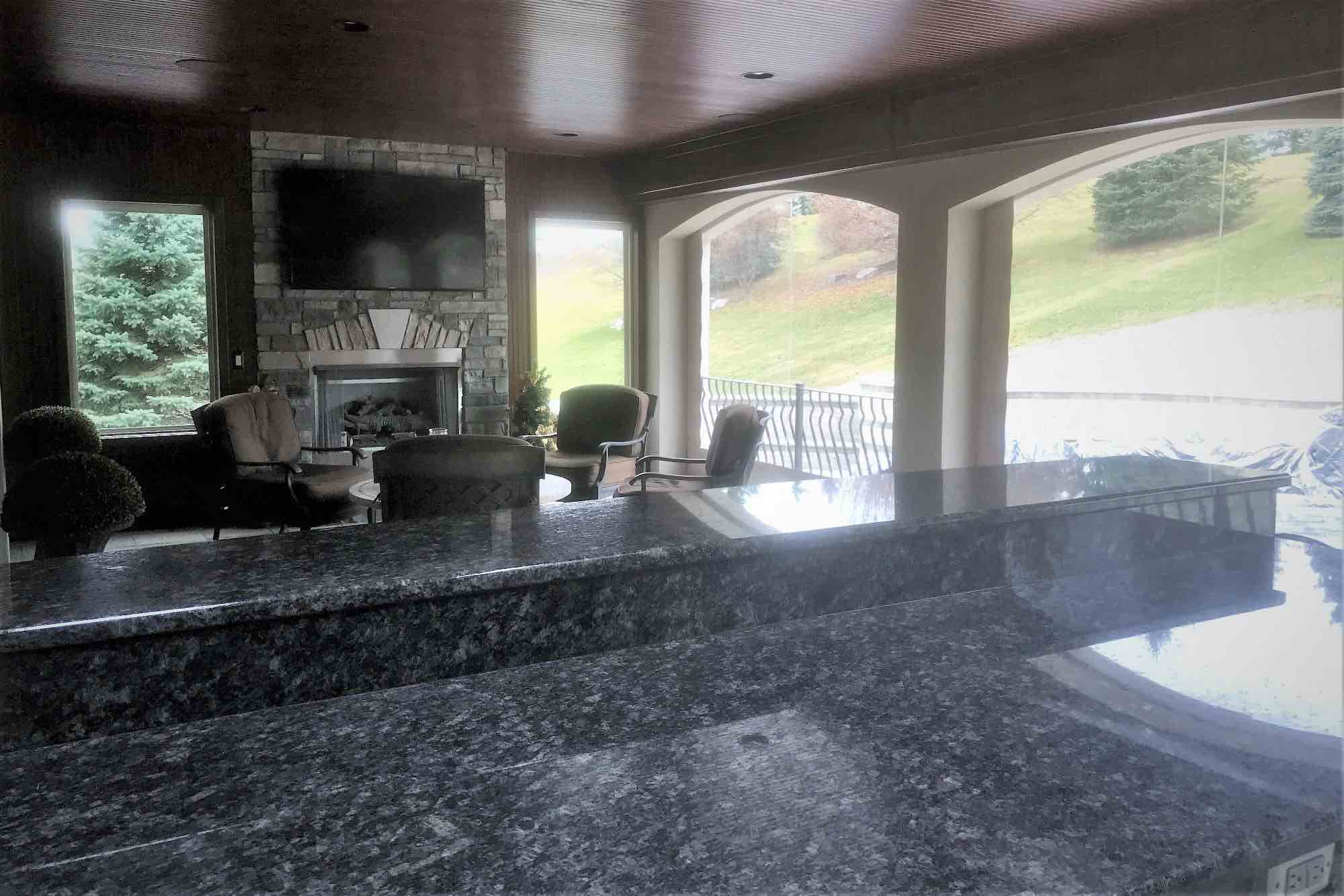 kitchen bar looking out over pool & spa
