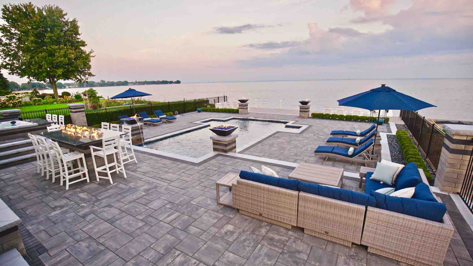 lakeside pool and lakefront patio