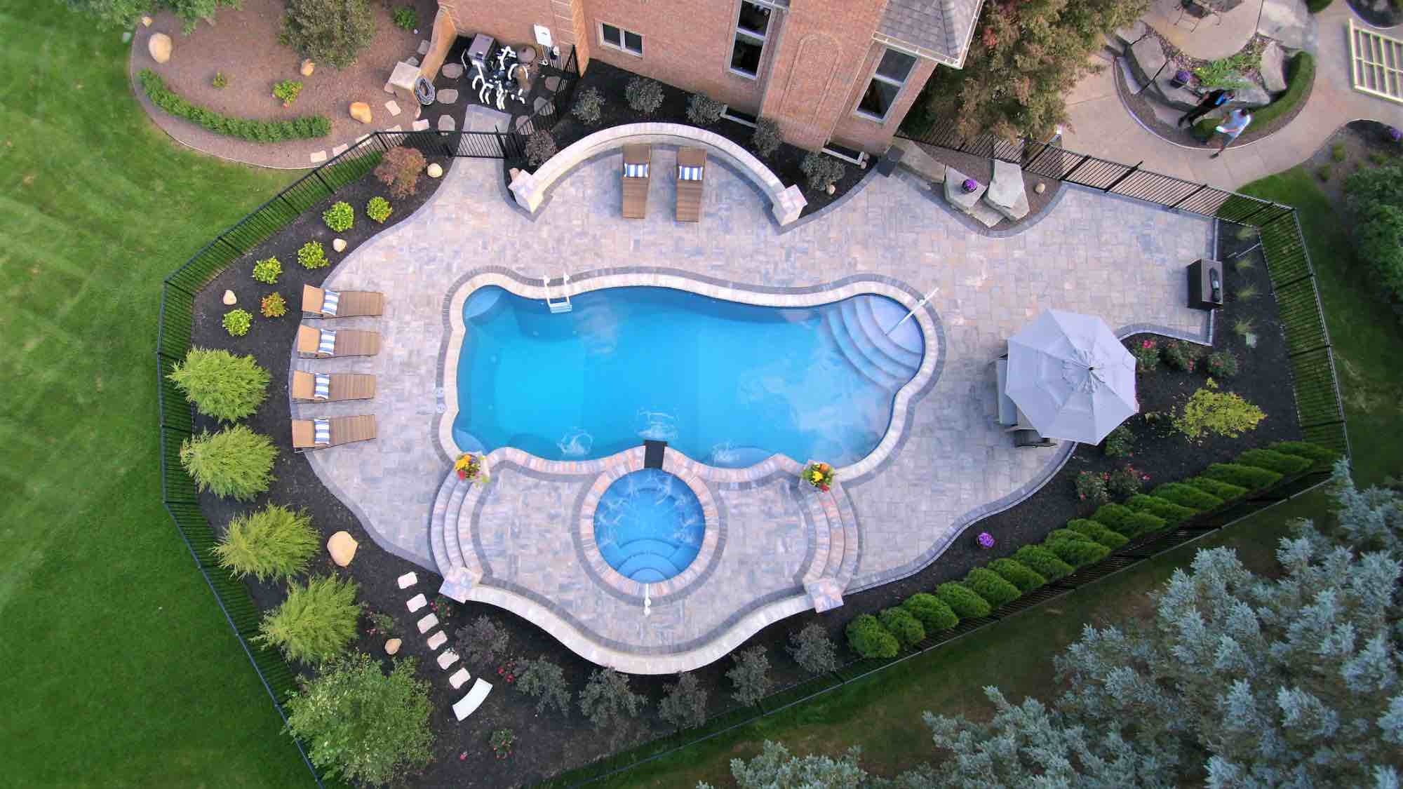 aerial view of pool & hot tub