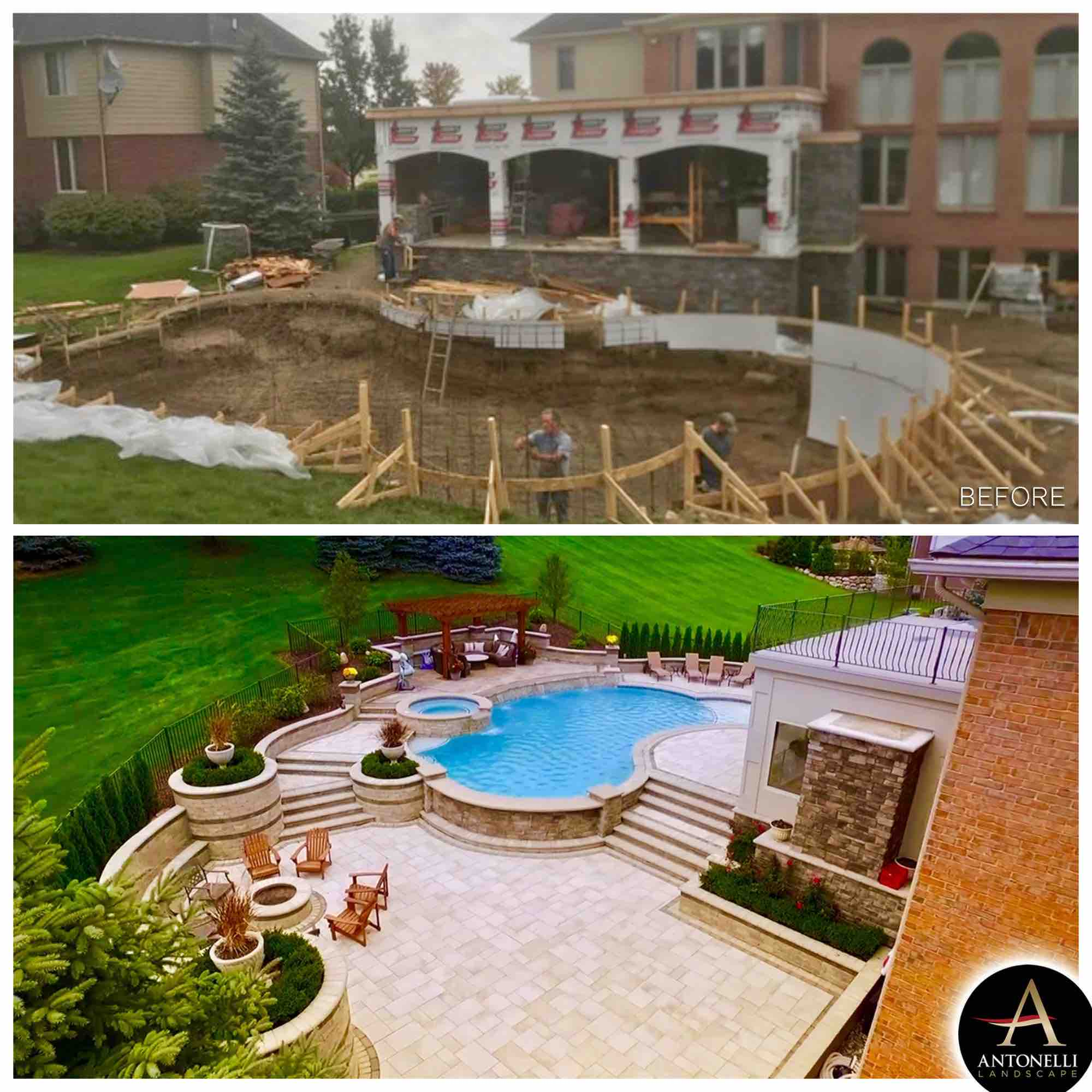 before and after pool & patio are installed