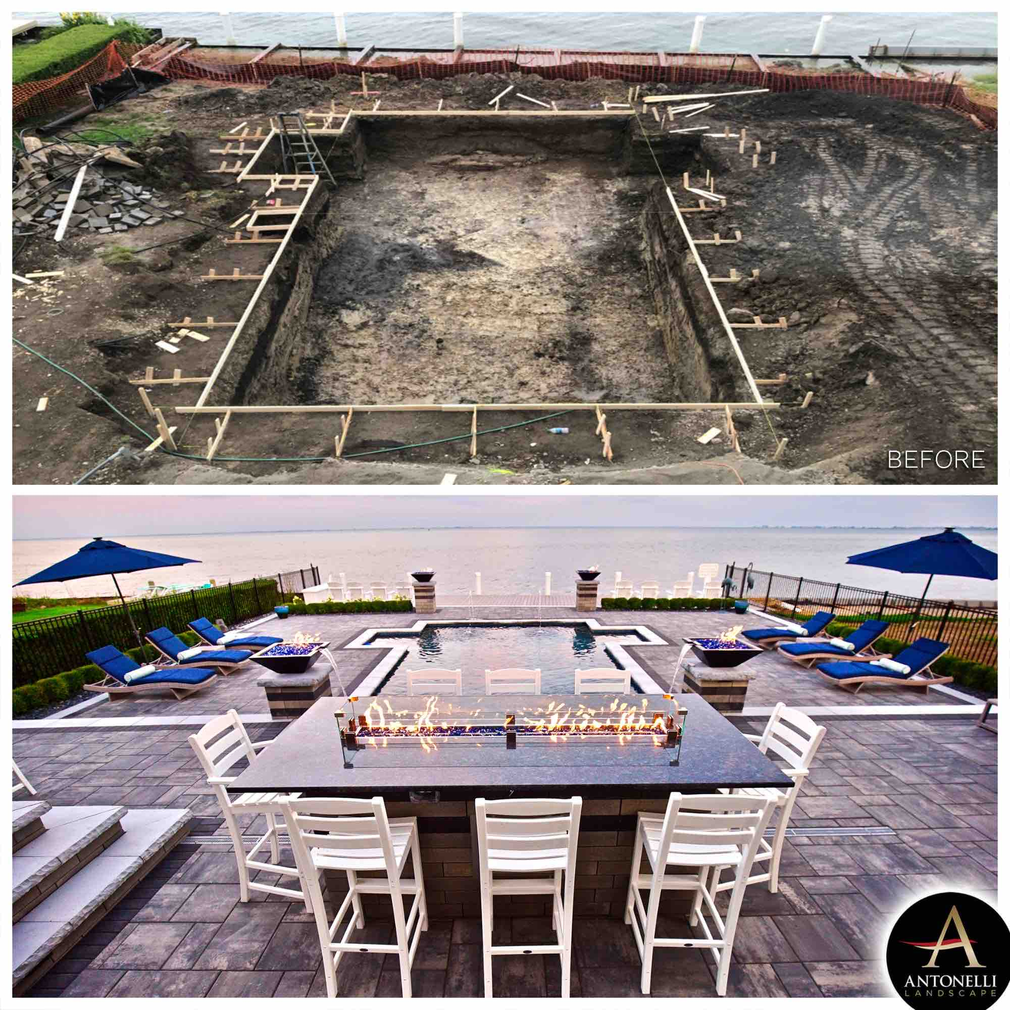 before and after photos of a lakeside pool