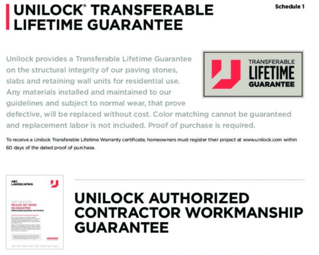 unilock guarantee