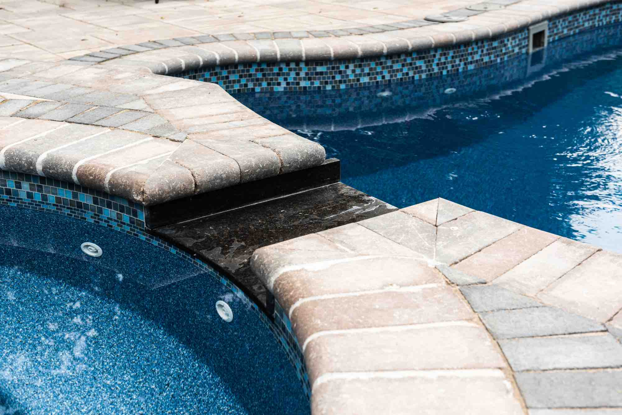 detail of hot tub and pool